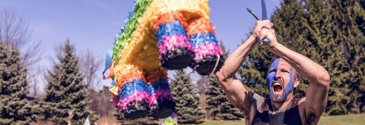Man Attacking A Pinata