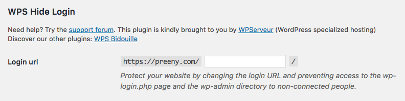 Hide the default wordpress login url