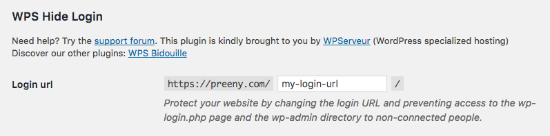 change the wordpress login url